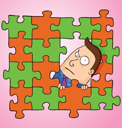 Man in puzzle vector