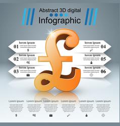 3d infographic british pound money icon vector