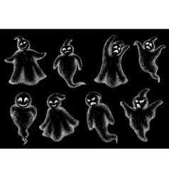 Set of halloween ghosts on a blackboard vector