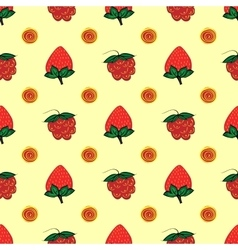 Raspberry strawberry berry seamless pattern vector
