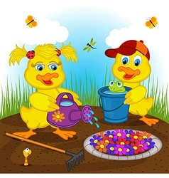 Ducklings boy and girl watering flowers vector