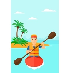 Man riding in canoe vector
