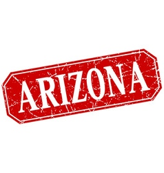 Arizona red square grunge retro style sign vector