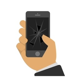Broken phone in a hand vector