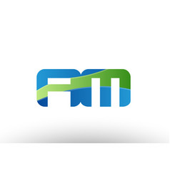 Blue green am a m alphabet letter logo vector