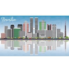 Brasilia Skyline with Gray Buildings vector image vector image