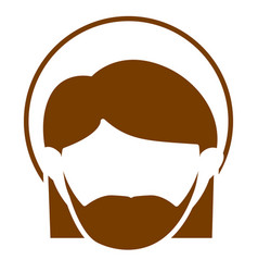 Brown silhouette of faceless head of saint joseph vector