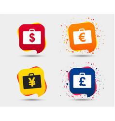Businessman case signs cash money icons vector