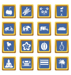 Costa rica icons set blue vector