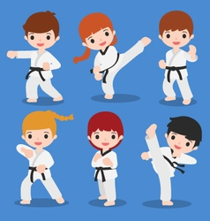 cute cartoon of martial arts vector image vector image
