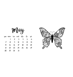 Desk calendar template for month may vector