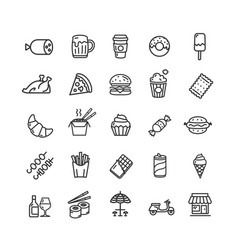 Fastfood and street food black thin line icon set vector