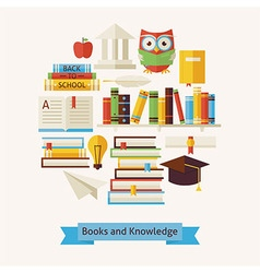 Flat Style Books Education and Knowledge Objects vector image vector image