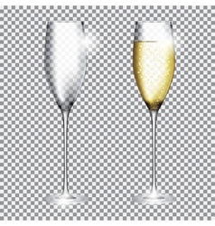 Glass of champagne full and empty on transparent vector