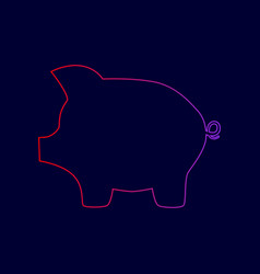 Pig money bank sign line icon with vector