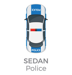police sedan top view flat icon vector image vector image