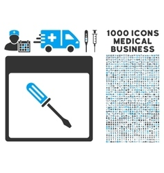 Screwdriver calendar page icon with 1000 medical vector