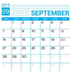 September 2015 calendar page template vector image