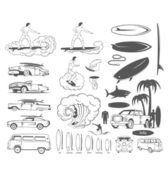 Set Elements of Surfing and Extreme Sports vector image