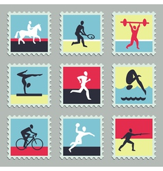 Set of stamps with sport icons vector