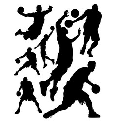 silhouettes of basketball players vector image vector image