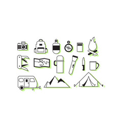 simple camping icons vector image vector image