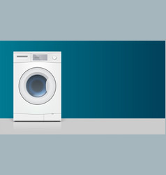 Template with washing machine for advertisement on vector