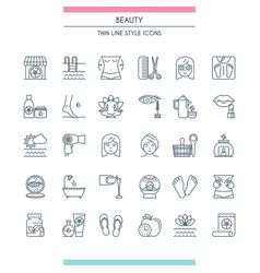 thin line design beauty icons vector image vector image