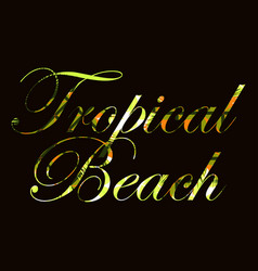 Tropical beach text with curls of palm leaves vector