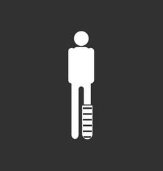 White icon on black background man with broken leg vector