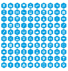 100 business strategy icons set blue vector