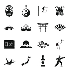 Japan icons set simple style vector image