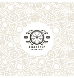 Bike shop label and frame with pattern vector image