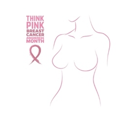 Breast cancer awareness month woman silhouette vector