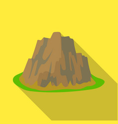 high steep mountain with grass the dark colors vector image