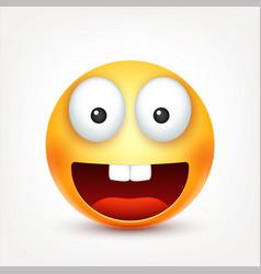 Smileysmiling happy emoticon with teeth yellow vector