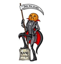 Halloween pumpkin head jack the reaper vector