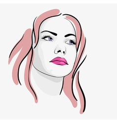 Young beautiful woman portrait sketch vector