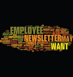 Employee newsletter text background word cloud vector