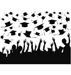 people celebrating graduation background vector image