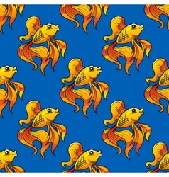 Beautiful ornamental goldfish seamless pattern vector