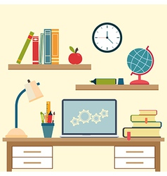 Workplace with high school object and college vector