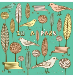Card with park and birds vector
