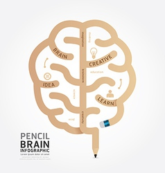 Infographics pencil brain design diagram vector