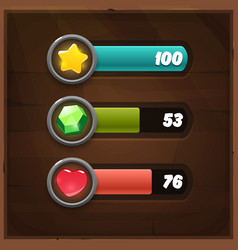 Game resources icons with progress bars vector