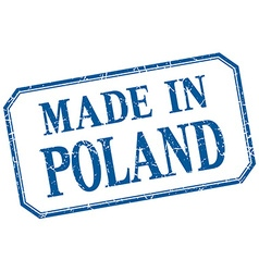 Poland - made in blue vintage isolated label vector