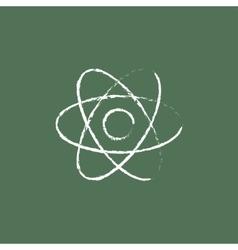 Atom icon drawn in chalk vector