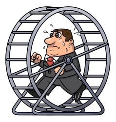 Businessman in a hamster wheel 2 vector image