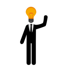 Businessman with bulb light education icon vector