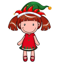 Christmas theme with doll wearing red and green vector